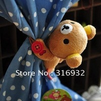 C2 Cute Rilakkuma Bear Plush Curtain Buckle, good qualitiy, 1 pair