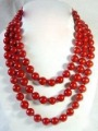 NATURAL Beautiful long red coral Necklace 60'' 10mm