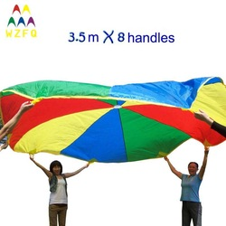 RAINBOW COLORED PLAYCHUTE, DIA3.5M PLAY PARACHUTE, PLAY TENT, PLAY GAMES, BALL PITS, MAGIC PE BALL, CHILDREN TENT christmas gift(China (Mainland))
