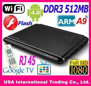 20% OFF Google TV Box Android 4.0 ARM Cortex A9 WiFi HD 1080P HDMI Internet TV Box with Remote DDR III 512M 4GB+Flash+3D