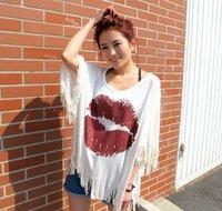 2012 new summer lips printing fringed bat sleeve T-shirt