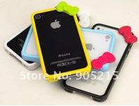 Hot sale !Free shipping fashion Cute Hello kitty Bowknot Bumper Frame skin Case Cover For iPhone 4 4G 4S