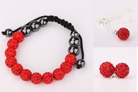 Drop Shipping Red Tresor Paris Shamballa Crystal Beads Jewelry sets  #042SBS