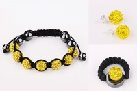 Charming Yellow Tresor Paris Shamballa Crystal Beads Jewelry sets,Silver jewelry  #062SBS