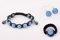 Wholesale Good Quality Hotsale Blue Shamballa Bracelet Jewelry sets,925 silver Shamballa Beads Jewelry   #107SBS