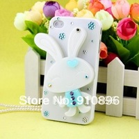 New  lovely rabbit case with mirror cover shell for 4/4S ,3pec/lot+ FREE SHIPPING
