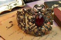 Retro Red Rhinestone Palace Vine Flower Alloy Bracelet Bangle Hollow Out Bangle Antique  Bangle Free Shipping