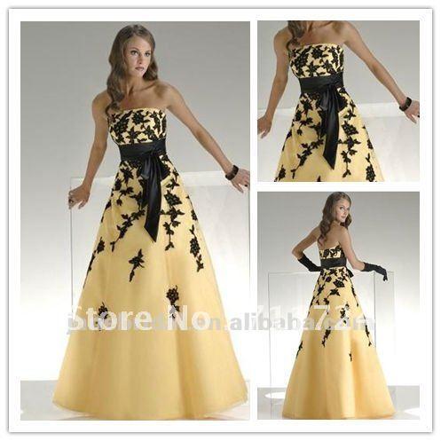 Yellow a line strapless orgaza black belt wedding dress