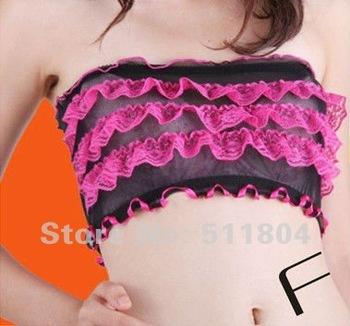 2014 New Fashion Gauze Lace Ruffles Women's Chest Wrap, Girl Sexy Lingeries Intimates Underwear Wholesale 6pcs/Lot 8 colors