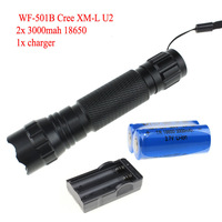 UltraFire WF-501B U2 Cree XM-L U2 1300 Lumens LED Flashlight Torch +2 x 18650 2400mAh battery+Charger +Free shipping