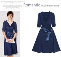 dresses new fashion 2013,summer one-piece blue dress women, plus size slim chiffon dress