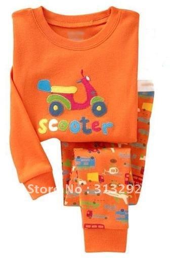 P156, Scooter/Motocycle, Baby/Children 100% Cotton Rib long sleeve T shirt + pant pajamas/sleepwear/clothing sets for 2-7 year.(China (Mainland))
