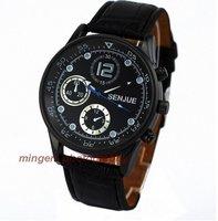 Fashion men's watches black leather belt