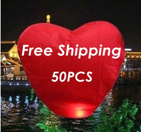 Wholesale Red Love Heart Flying Sky Lanterns &amp; Camping Lantern For Anniversary Free Shipping To Worldwide(China (Mainland))