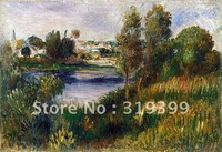 Oil Painting Reproduction,landscape at vetheuil By Renoir oil painting on linen canvas,Free Fedex Shipping,handmade