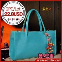 free shipping sale 2PCS / LOT  ladies' 2012 new sweet candy retro commuter portable shoulder bag women fashion PU handbag BB009