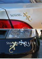 golden silver Metal 3D Gecko Fashion Metal Car sticker 3D car sticker Gecko