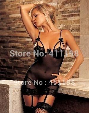 2014 women sexy Sheer Gartered Chemise 1038 Teddy Garter & Teddies Black, White color lingeire plus size M, XL, XXL(China (Mainland))