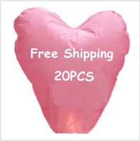 Promotion 20 pieces/Lot Love Pure Pink Color Heart Sky Lanterns &amp;amp; Chinese Wishing Lanterns Free Shipping To Worldwide