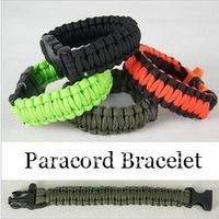 100pcs Mix Color Paracord/550 rope Survival Bracelet, Wholesale Price Paracord Survival Bracelet+Whistle Buckle,Outdoor Gear
