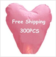 300 pieces/Lot Pink Love Heart Flying Sky Lanterns &amp;amp; kongming Lantern For Party Supplies Free Shipping To Worldwide