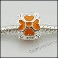 100pcs/lot A40 Lucky Clover Orange Silver Plated Enamel Rondelle Big Hole Charms Beads Fit Euorpean Bracelets