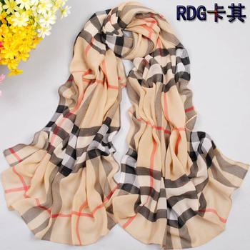 Super soft velvet chiffon large silk scarf georgette sun cape beach towel all-match fashion plaid scarf