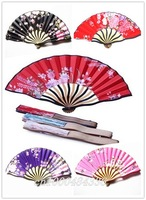 Free Shipping wholesale 30pcs Japanese silk fan,satin fabric fan  HOT Selling