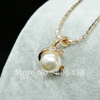 Free shipping++18KGP Pearl Fashion jewelry,18K Gold Plated Pearl pendant Necklace,Italina jewelry