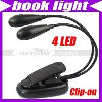 Black Book Light Clip Dual 2 Arm 4 LED Flexible Stand Laptop Lamp Book Light #1492