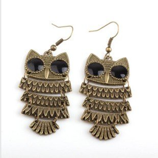 Min.order is $ 5 (mix order),free shipping 2014 women/Girl's Jewellery Earring,pendant  vintage Gold Owl bohemian earring,(J002)