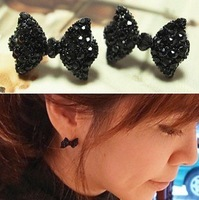 Western Fashion Simple Black Butterfly Bow Earrings Wholesale  !Free shipping