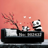 Free Shipping Removable Wall Sticker Cartoon Panda and Flowers and Butterfly Home Decoration Wall Decals JM8243