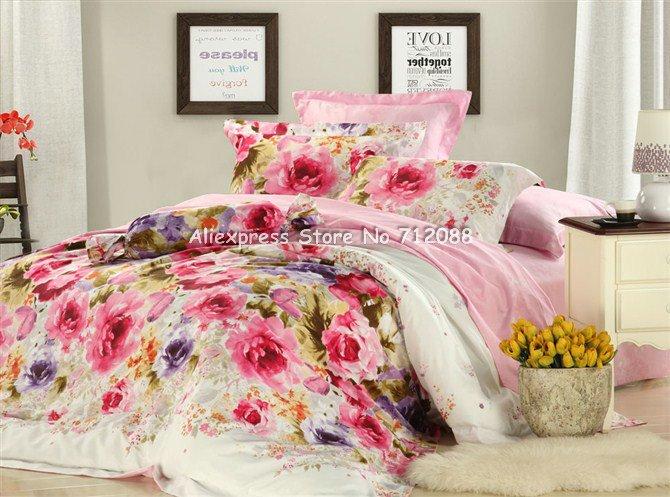 Wholesale,red purple flower floral pattern pink bedspread ...