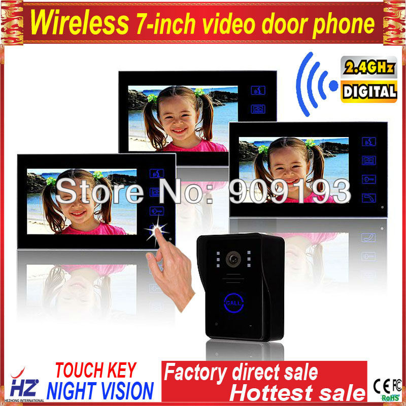 Touch key 7 wireless colour video door phone / digital building intercom system 1 to 3 / outdoor unit rainproof in battery(China (Mainland))