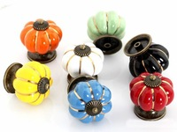 Lot of 50 Colorful Pumpkin Ceramic handle For Drawer Cabinet Knobs Handle(Diameter:40mm)