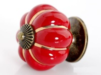 Colorful Pumpkin Cabinet Knobs Ceramic Kirchen Drawer Pulls Furniture Handle (D:40mm,7 Color)