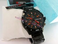 Free shipping&amp;packaging/New brand CURREN Round Dial Tungsten Steel Band Men&#39;s Quartz Wrist Watch With Calendar watch/8021 orange
