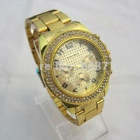 1PC/LOT wholesale China air post freeshipping,metal alloy band gold,good imported movement,new type PAIDU wrist watch