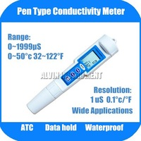 Free Shipping Pen Type Conductivity Temperature Monitor Tester METER Analyzer ATC Waterproof 0~1999uS