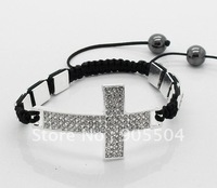 Cross & Square Shamballa Bracelet 10x10mm Silver Plated Clear Crystal Beads
