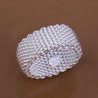 R040 Free shipping 1piece fashion silver 925 ring jewelery mesh rings