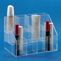 Free Shipping Clear View Cosmetics Mascara Nail Polish Display Stand Holder Tray 12 Cells AF-71