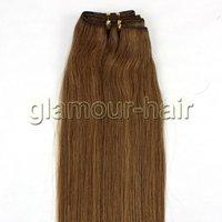 "Top quality 12""-26"" Brazilian virgin human hair extensions machine weft #12-light brown"