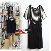 Mm plus size summer women's stripe twinset casual t-shirt spaghetti strap one-piece dress hot-selling