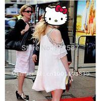 free shipping New Women Vogue Beads Off Shoulder ZGX146 Chiffon Top Mini Dress