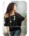 Free shipping  Sexy Trendy OFF-Shoulder Women  T-Shirt Buttons Blouse # 5124