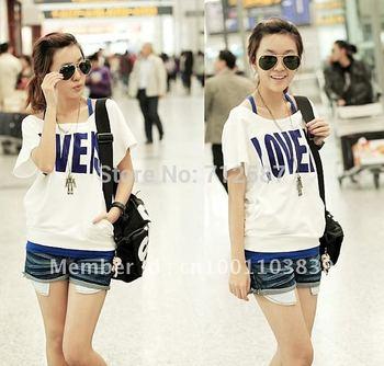 free shipping Korea 2 PCS Off Shoulder Women's Top T-shirt+Vest Short #5126