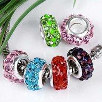 Wholesale 20p Mix 6x11mm Crystal Enamel 4mm Hole Charm European Beads