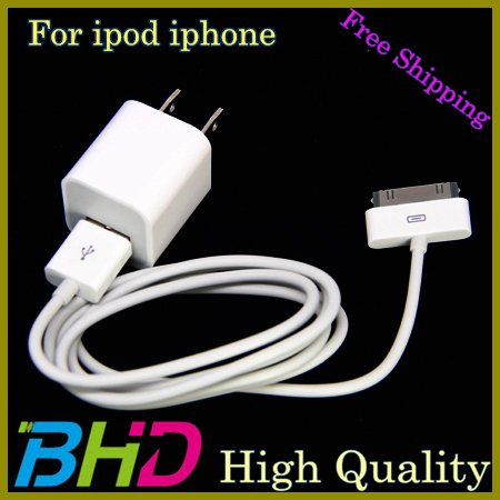 Factory Price ! USB Data Sync Cable + Home Wall Charger for iPhone 4S 4 3GS Apple iPod Touch Nano Classic Free Shipping By EMS(China (Mainland))